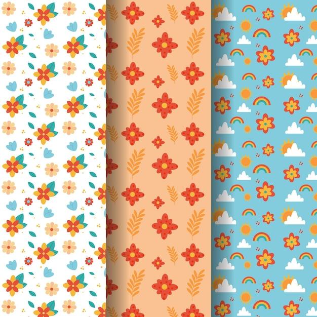 Colección de patrones de primavera plana vector gratuito