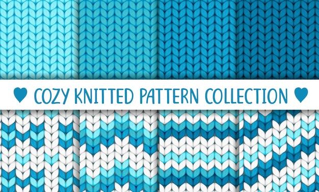 Colección de patrones de punto azul y blanco, baby boy Vector Premium