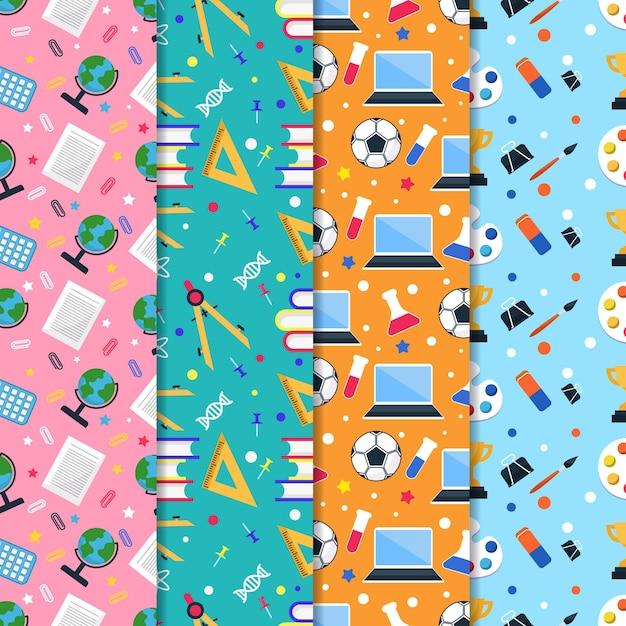 Colección de patrones de regreso a la escuela en diseño plano vector gratuito