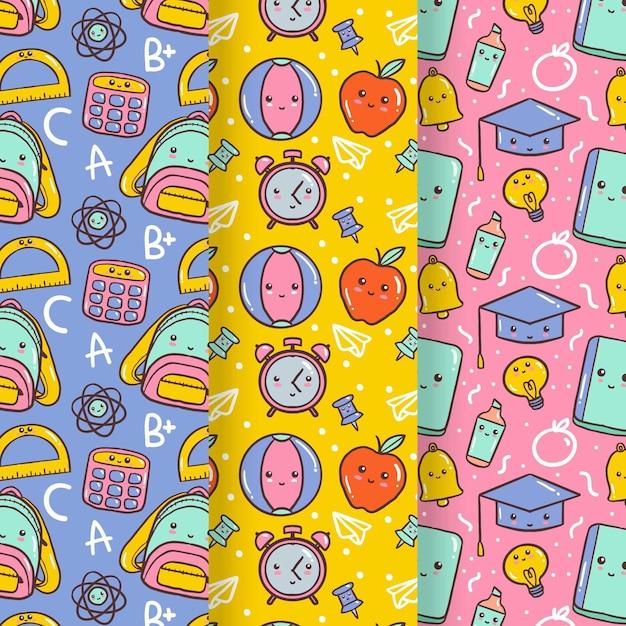Colección de patrones de regreso a la escuela vector gratuito