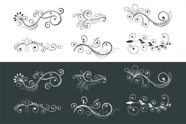 Colección de patrones de remolino de decoración floral ornamental vector gratuito