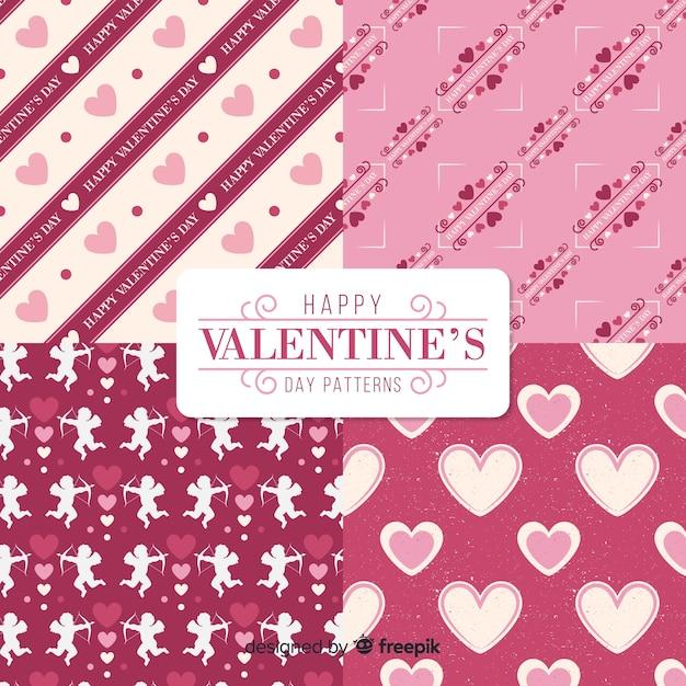 Colección patrones san valentín ángeles y corazones vector gratuito
