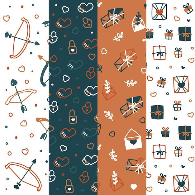Colección de patrones de san valentín con arcos y flechas vector gratuito