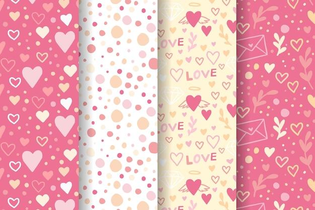 Colección de patrones de san valentín dibujados a mano vector gratuito