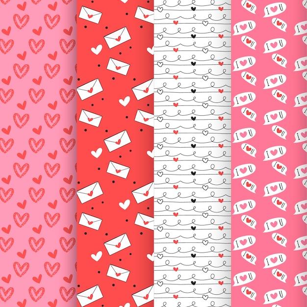 Colección de patrones de san valentín en diseño plano vector gratuito