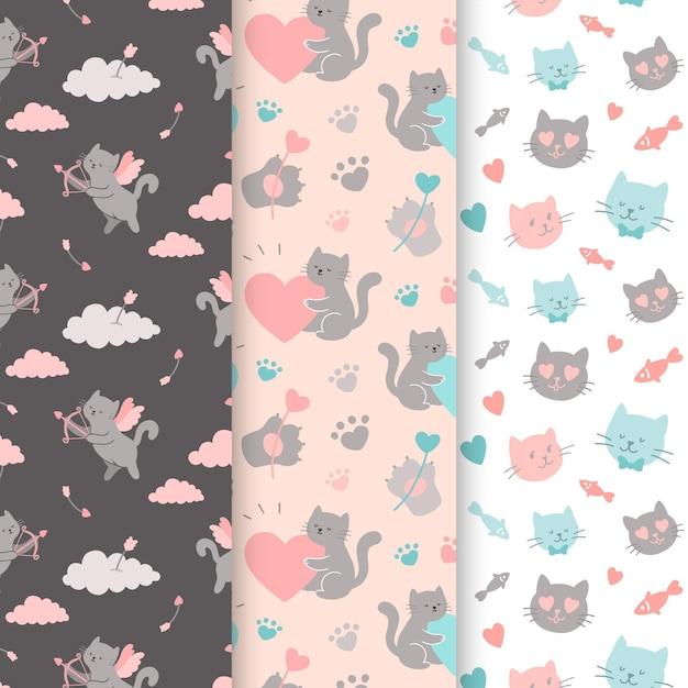 Colección de patrones de san valentín con gatos vector gratuito