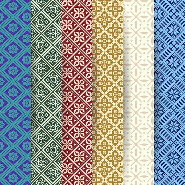 Colección de patrones songket Vector Premium