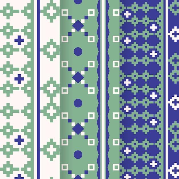 Colección de patrones songket vector gratuito