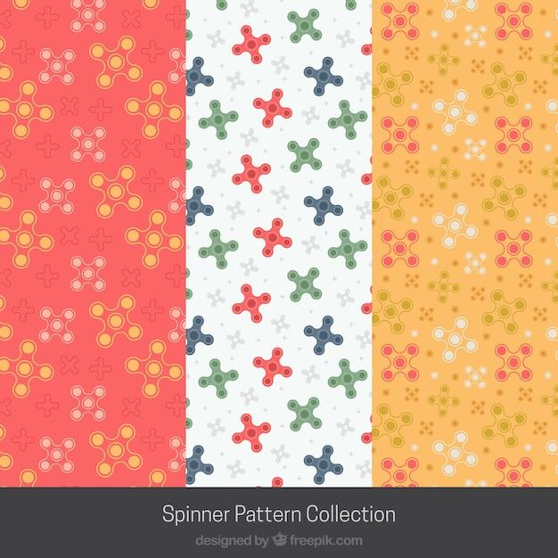 Colección de patrones de spinners multicolor vector gratuito