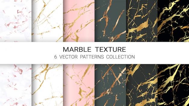 Colección de patrones de textura de mármol Vector Premium