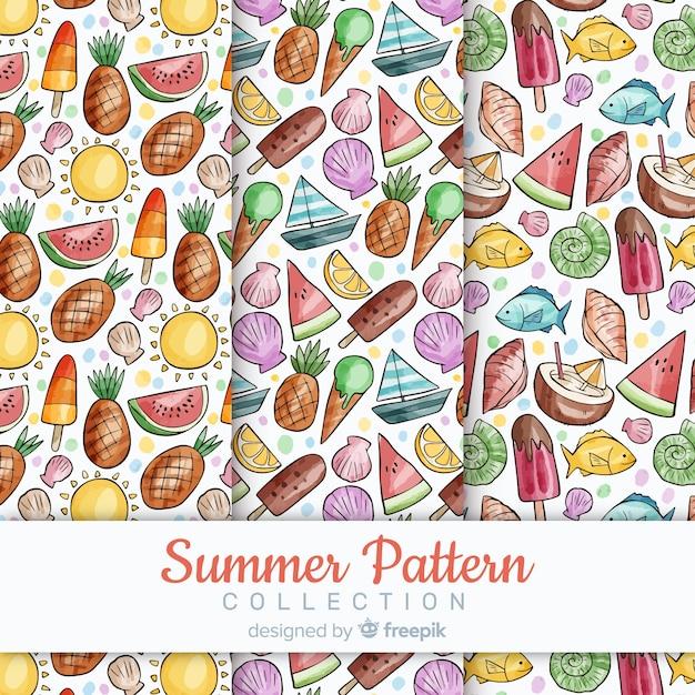 Colección de patrones de verano de acuarela vector gratuito