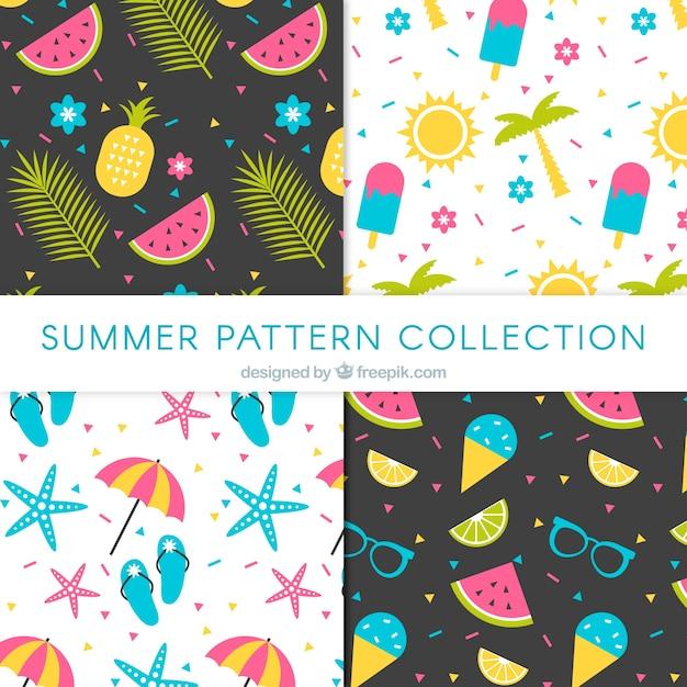 Colección de patrones de verano con elementos de playa vector gratuito