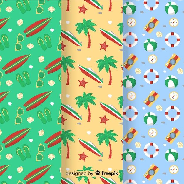 Colección de patrones de verano en estilo flat vector gratuito