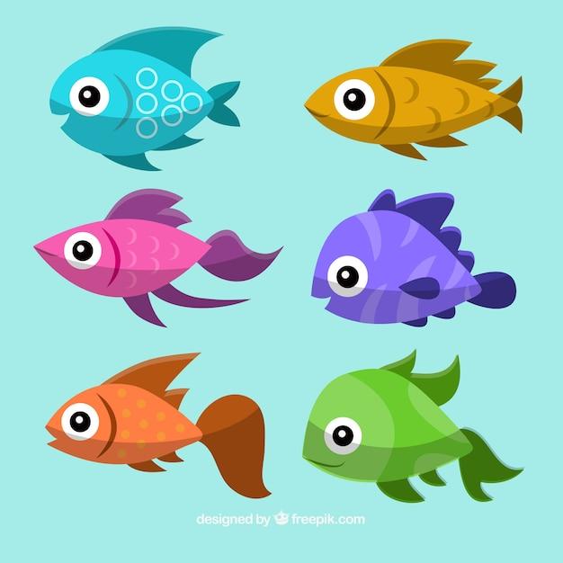 Colección de peces coloridos con caras felices Vector Premium
