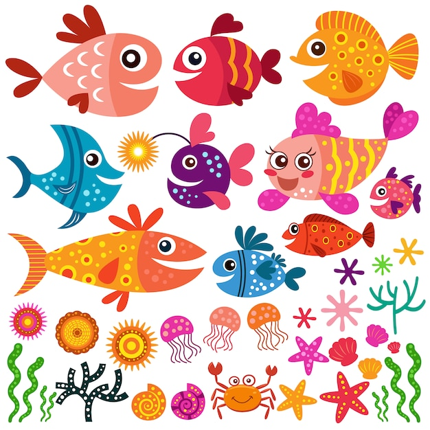 Colección de peces y conchas vector gratuito