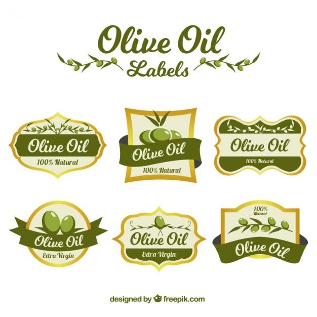 Colección de pegatinas de aceite de oliva vector gratuito