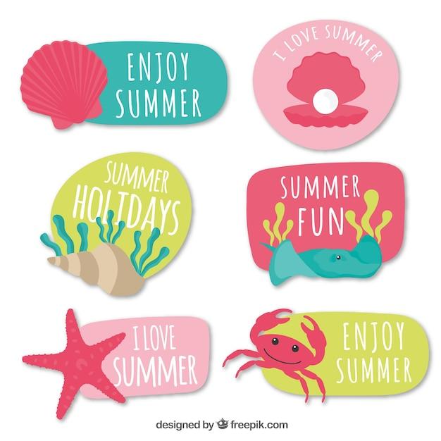 Colección de pegatinas de colores de verano con mensajes vector gratuito