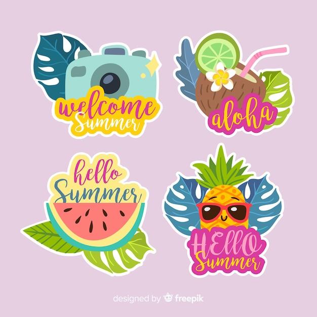 Colección de pegatinas coloridas de rebajas de verano vector gratuito