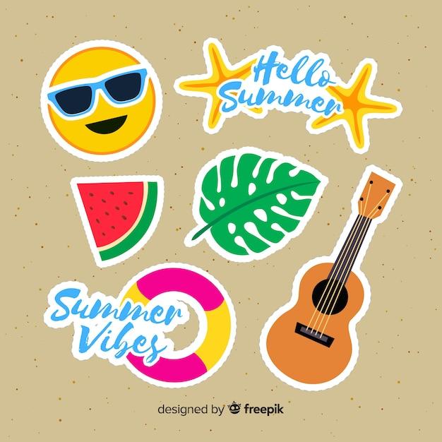 Colección de pegatinas coloridas de verano dibujadas a mano vector gratuito