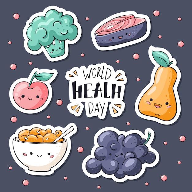 Colección de pegatinas de comida saludable en estilo doodle Vector Premium