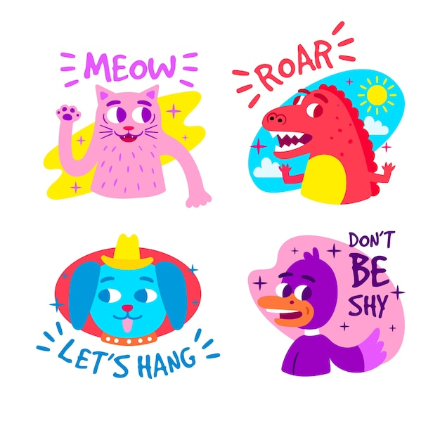 Colección de pegatinas divertidas dibujadas a mano vector gratuito