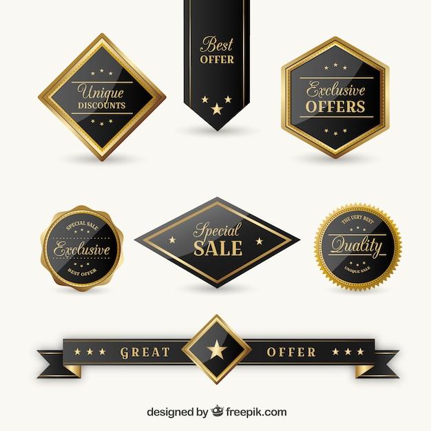 Colección de pegatinas elegantes de ofertas exclusivas vector gratuito