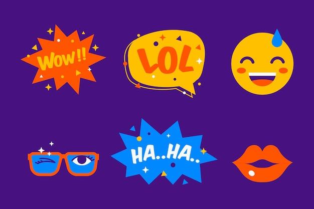 Colección de pegatinas con emoji y burbujas de chat vector gratuito
