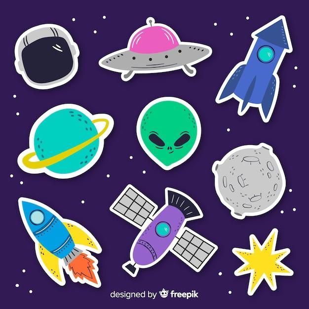 Colección de pegatinas espaciales en diseño plano vector gratuito