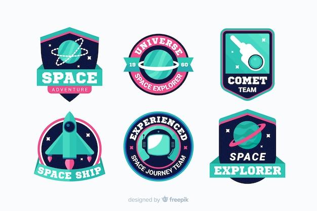 Colección de pegatinas espaciales modernas vector gratuito
