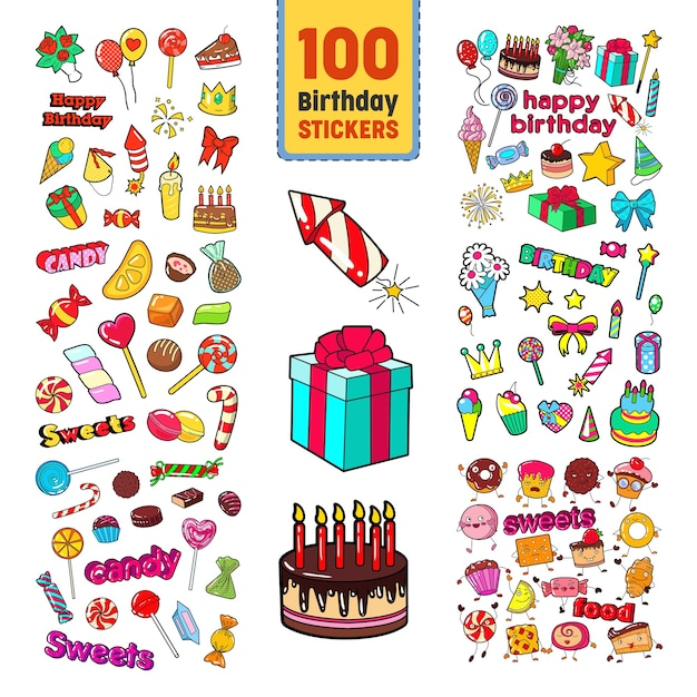 Colección de pegatinas de feliz cumpleaños Vector Premium