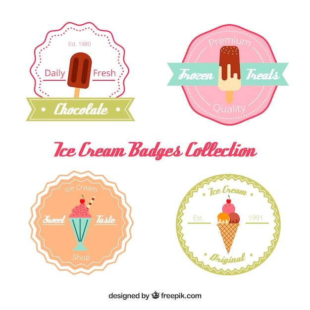 Colección de pegatinas de helado vector gratuito