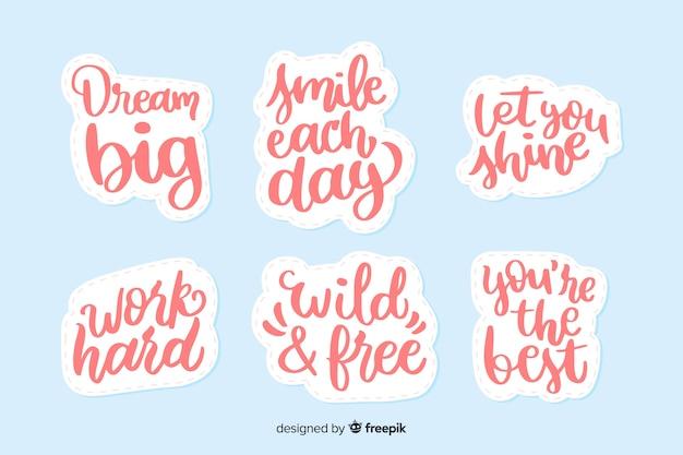Colección de pegatinas de letras motivacionales vector gratuito