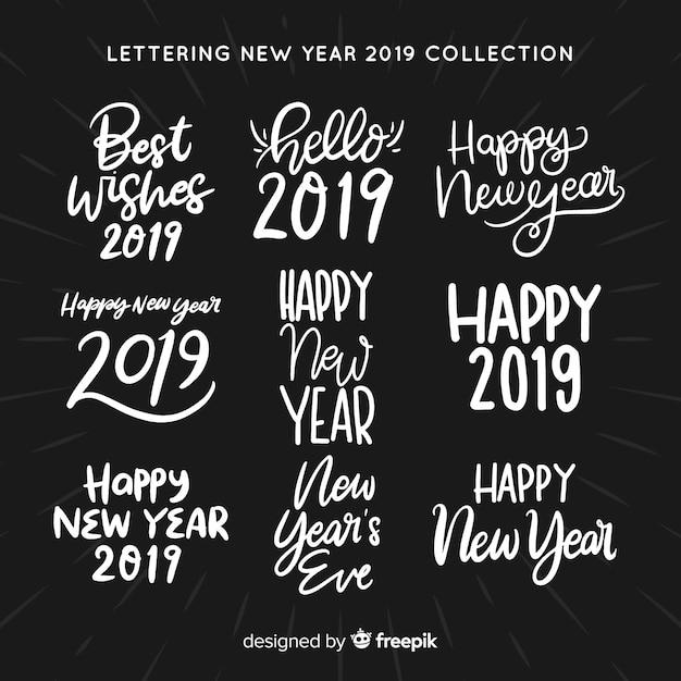 Colección pegatinas lettering año nuevo vector gratuito