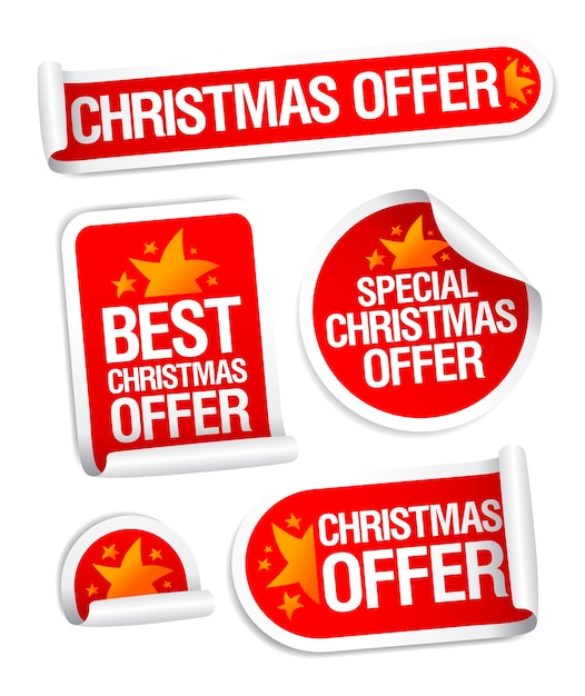 Colección de pegatinas de las mejores ofertas navideñas Vector Premium