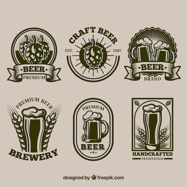 Colección de pegatinas retro de cerveza vector gratuito