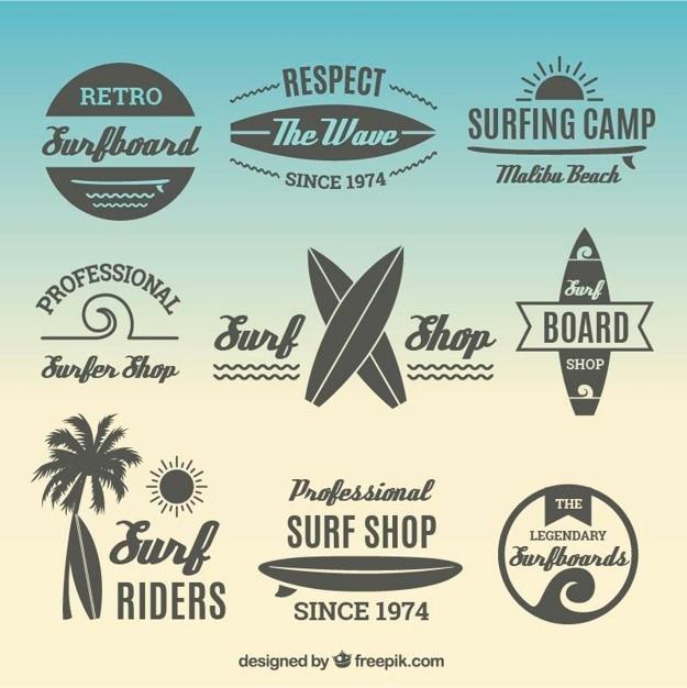 Colección de pegatinas de surf planas vector gratuito
