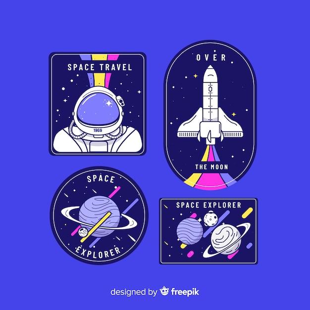 Colección de pegatinas de tema espacial vector gratuito