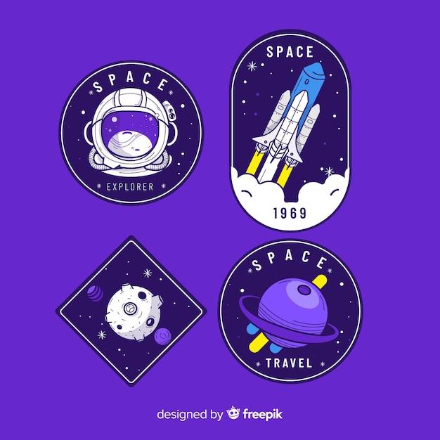Colección de pegatinas de tema espacial Vector Premium