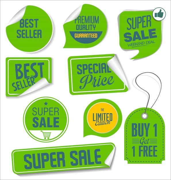 Colección de pegatinas de venta moderna Vector Premium