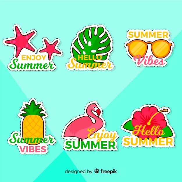 Colección de pegatinas de verano coloridas dibujadas a mano vector gratuito