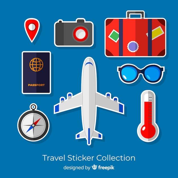 Colección pegatinas viaje coloridas vector gratuito