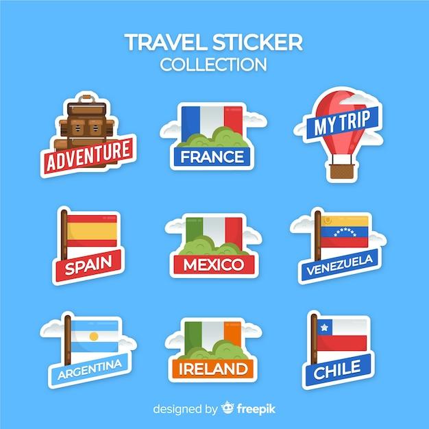 Colección de pegatinas de viaje en diseño plano vector gratuito