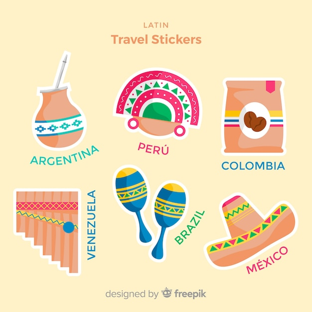 Colección de pegatinas de viajes en diseño plano vector gratuito