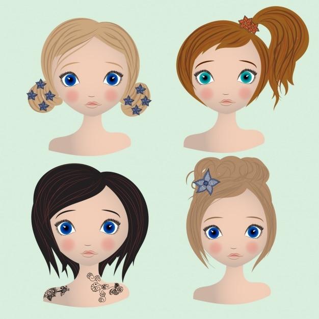 Colección de peinados femeninos vector gratuito