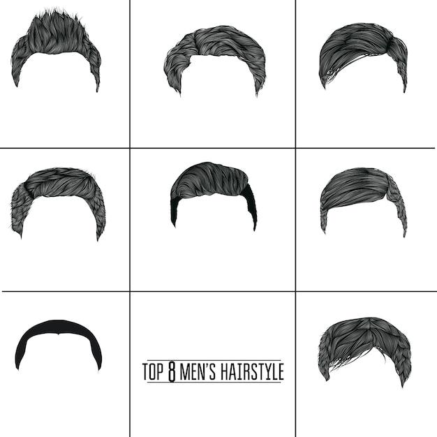 Colección de peinados de hombre vector gratuito
