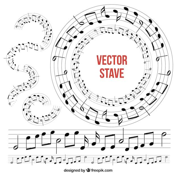 Colección De Pentagramas Musicales Descargar Vectores Gratis