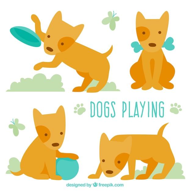 Colección de perro lindo jugando vector gratuito