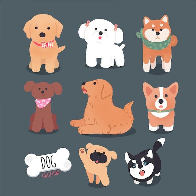 Colección de perros de diseño de personajes dibujados a mano Vector Premium