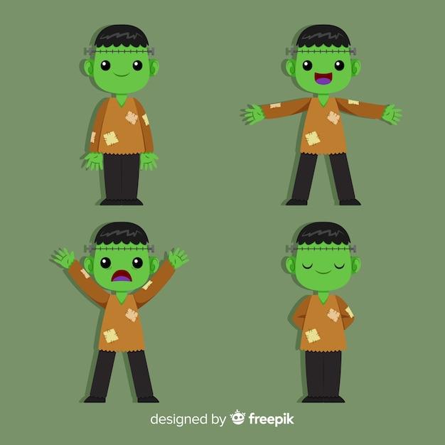 Colección de personaje de zombie de halloween con diseño plano vector gratuito