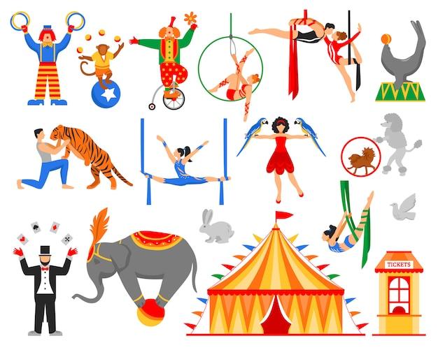 Colección de personajes de artista de circo vector gratuito